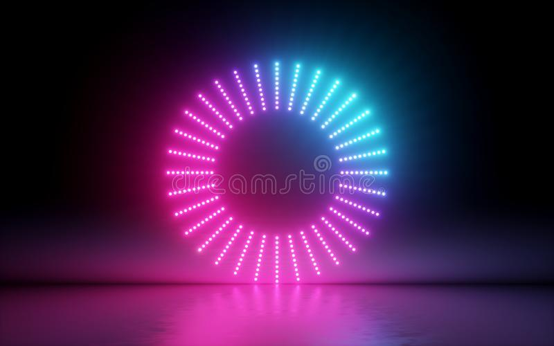 3d render, abstract background, round screen, ring, glowing dots, neon light, virtual reality, volume equalizer interface, hud. Pink blue spectrum, vibrant vector illustration