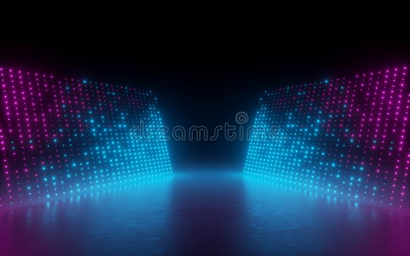 3d render, abstract background, screen pixels, glowing dots, neon lights, virtual reality, ultraviolet spectrum, pink blue stage stock illustration