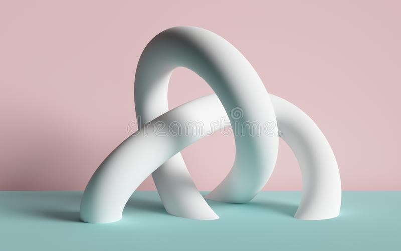 3d render, abstract background, white tubes, primitive geometric shapes, pastel color palette, simple mockup, minimal design royalty free illustration