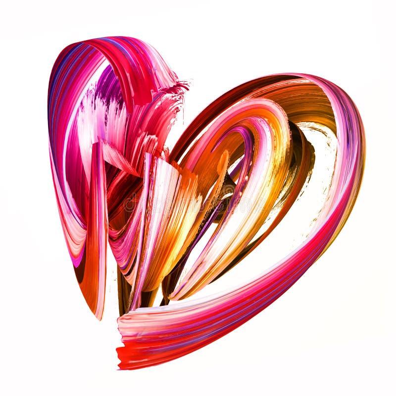 3d render, abstract brush stroke, creative smear clip art, paint splash, heart shape splatter, colorful curl, artistic ribbon, vector illustration