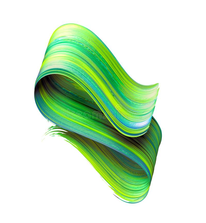 3d render, abstract brush stroke, neon smear, green folded ribbon, paint texture, artistic clip art, isolated on white background stock photos