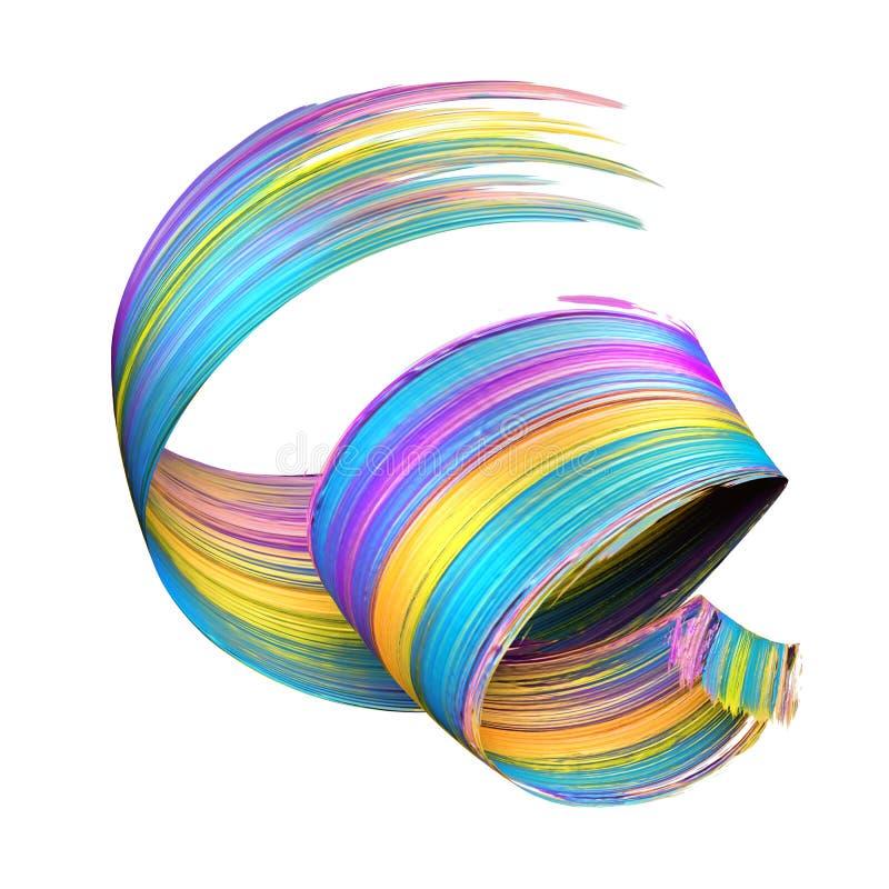 3d render, abstract brush stroke, paint splash, splatter, colorful curl, artistic spiral, vivid ribbon. 3d render of abstract brush stroke, paint splash royalty free illustration