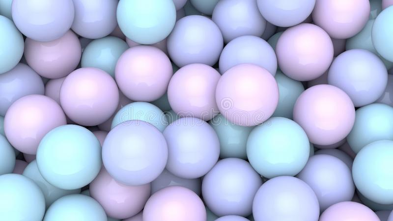 3d render of Abstract colorful spheres balls background. Primitive shapes, minimalistic design, party decoration royalty free illustration