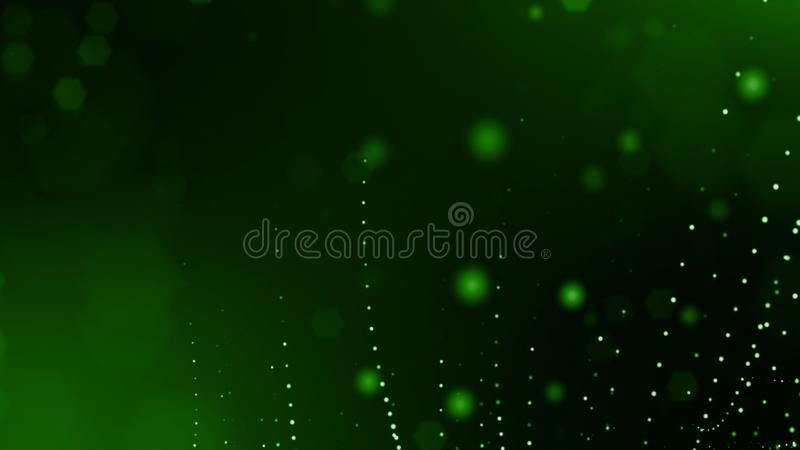 3d render of abstract green composition with depth of field and glowing particles in dark with bokeh effects. Science. 3d render of abstract composition with royalty free illustration