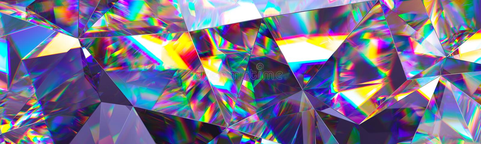 3d render, abstract crystal background, iridescent texture, macro panorama, faceted gem, wide panoramic polygonal wallpaper stock illustration