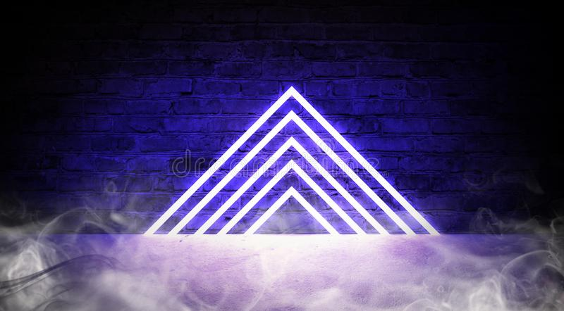 3d render, abstract fashion background, blue pink neon triangular portal, glowing lines. Tunnel, corridor, virtual reality, violet neon lights, arch, triangle royalty free illustration
