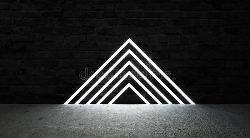 3d render, abstract fashion background, blue pink neon triangular portal, glowing lines stock illustration
