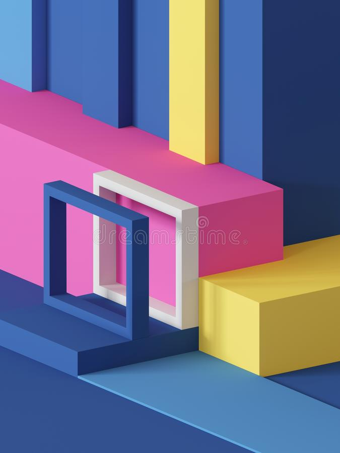 3d render, abstract geometric background, primitive shapes, toys, cube, colorful rectangular blocks stock illustration
