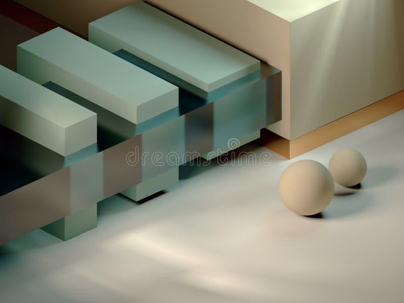 3D studio geometric figures modern minimal design stock illustration