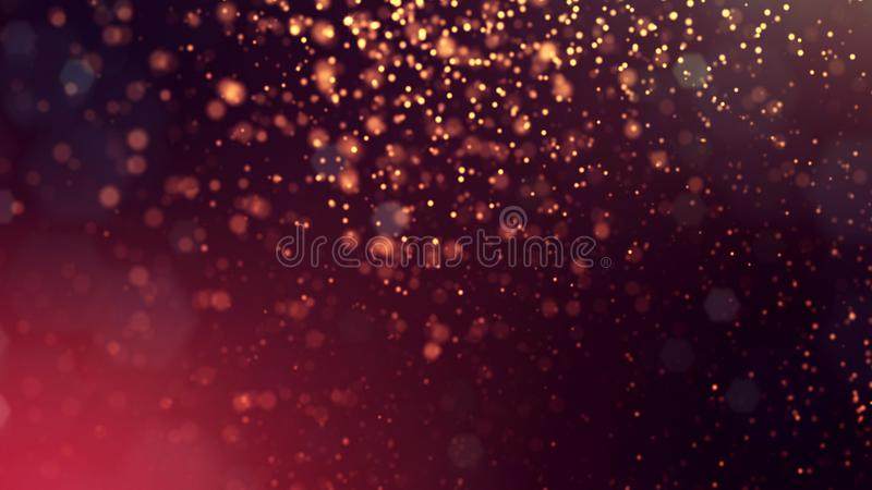 3d render of abstract golden red composition with depth of field and glowing particles in dark with bokeh effects. 3d render of abstract composition with depth stock illustration