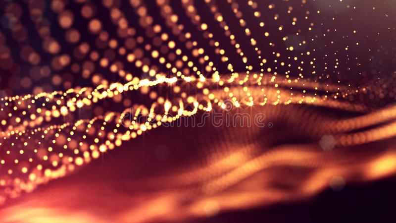 3d render of abstract golden red composition with depth of field and glowing particles in dark with bokeh effects. 3d render of abstract composition with depth royalty free illustration
