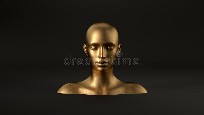 3d render of abstract mannequin female head on black background. Fashion woman. Gold human face. stock illustration