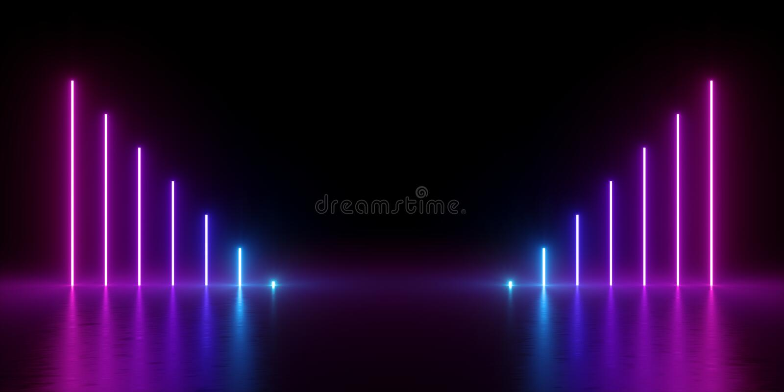 3d render, abstract minimal background, glowing vertical lines, chart, electric blue, neon lights, ultraviolet spectrum, virtual royalty free illustration