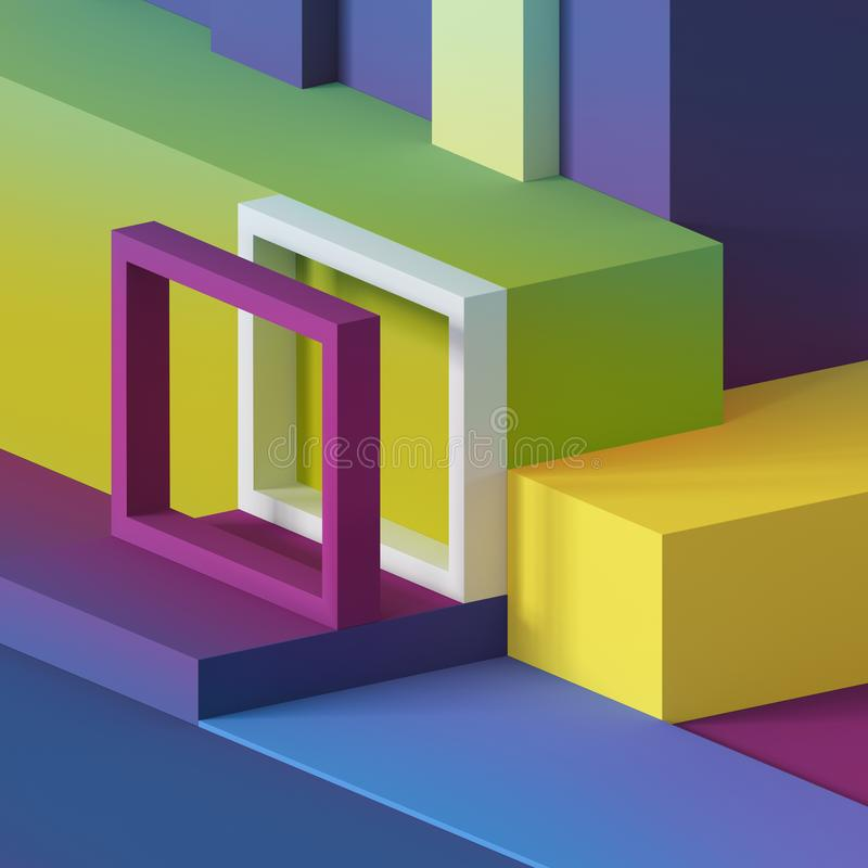 3d render, abstract minimal background, primitive geometric shapes, playground, toys, cube, colorful rectangular blocks royalty free illustration