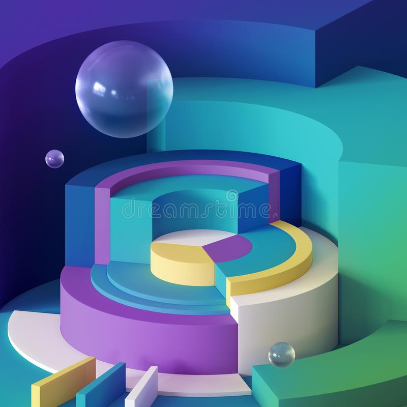 3d render, abstract minimal background, primitive geometric shapes, toys, glass ball, bubbles, hemisphere, sector, colorful blocks royalty free illustration