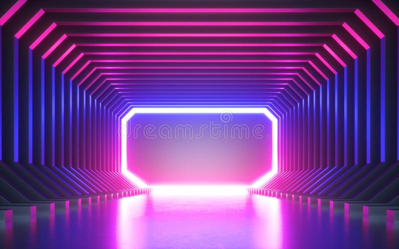 3d render, abstract neon background, blank frame, virtual reality screen, ultraviolet spectrum, laser show, fashion podium, stage vector illustration
