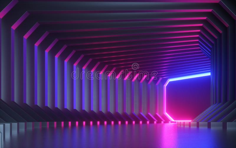 3d render, abstract neon background, corridor, tunnel, virtual reality screen, ultraviolet spectrum, laser show, fashion podium royalty free illustration