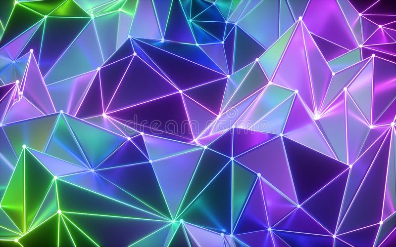 3d render, abstract neon crystallized background, ultraviolet polygonal mesh, modern fashion texture vector illustration