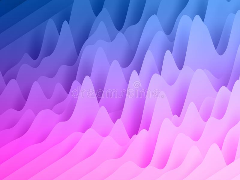 3d render, abstract paper shapes background, bright colorful sliced layers, pink blue waves, hills, equalizer royalty free stock photography