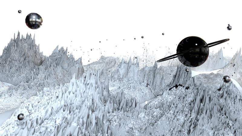 3d render of abstract planet surface. Very detailed sci fi or science fiction background in greyscale like moon stock image