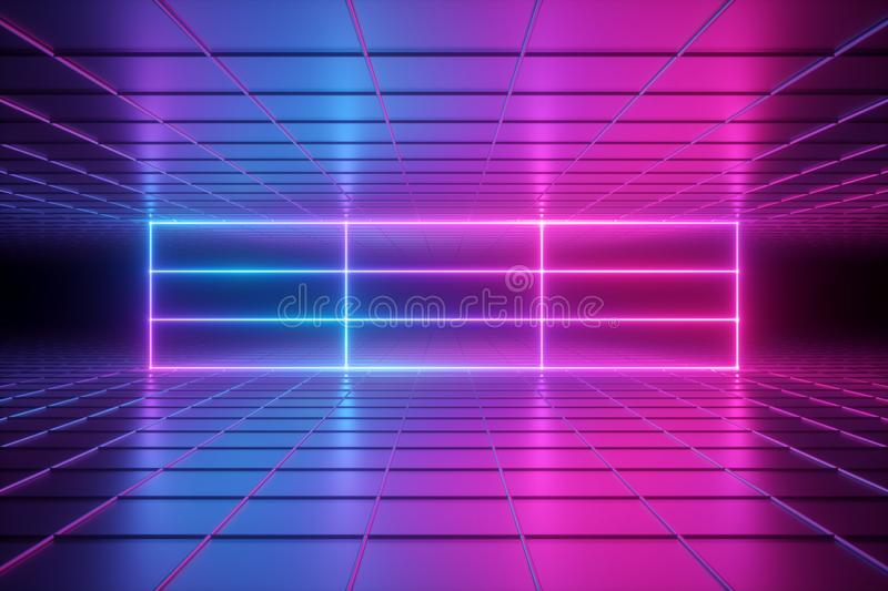 3d render, abstract psychedelic background, neon lights, virtual reality, ultraviolet grid, glowing lines, box, empty room royalty free illustration