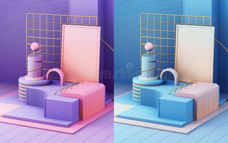 3d render in abstract style on colorful background. Trendy futuristic technology texture. Minimal design royalty free stock images