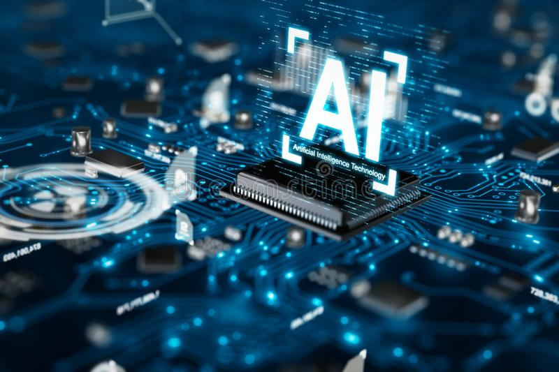 3D render AI artificial intelligence technology CPU central processor unit chipset on the printed circuit board for electronic and. Technology concept select stock image