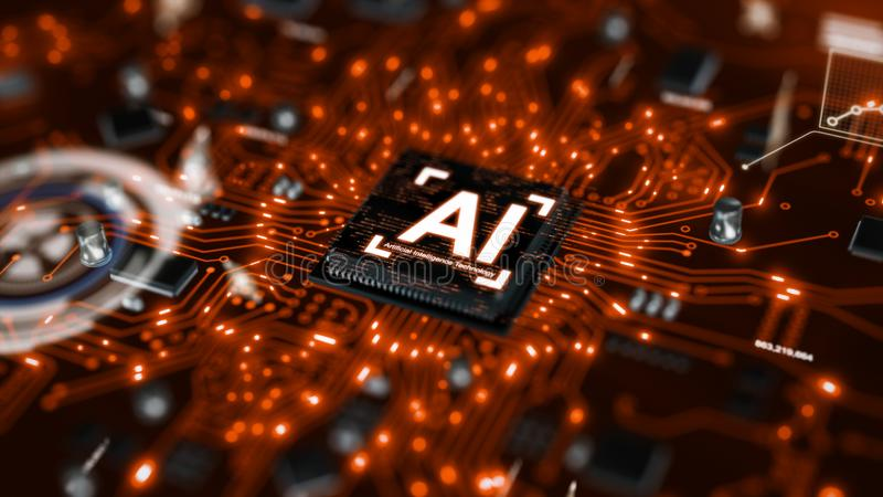 3D render AI artificial intelligence technology CPU central processor unit chipset on the printed circuit board for electronic and. Technology concept select royalty free stock photos