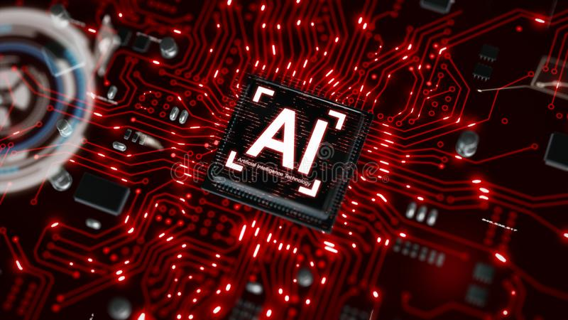 3D render AI artificial intelligence technology CPU central processor unit chipset on the printed circuit board for electronic and. Technology concept select royalty free stock images