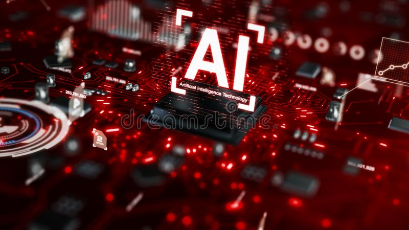 3D render AI artificial intelligence technology CPU central processor unit chipset on the printed circuit board for electronic and. Technology concept select stock photography
