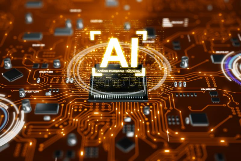 3D render AI artificial intelligence technology CPU central processor unit chipset on the printed circuit board for electronic and. Technology concept select stock photos