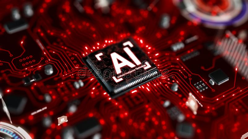 3D render AI artificial intelligence technology CPU central processor unit chipset on the printed circuit board for electronic and. Technology concept select stock images