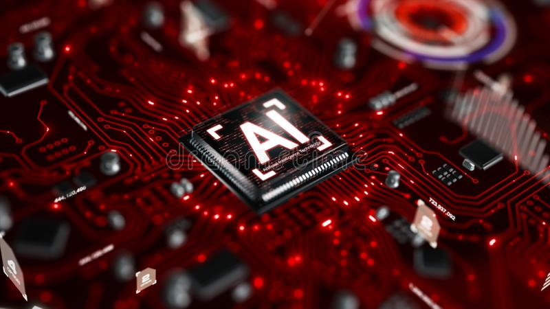 3D render AI artificial intelligence technology CPU central processor unit chipset on the printed circuit board for electronic and. Technology concept select royalty free illustration