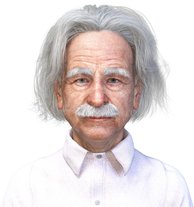 Einstein Scientist, Science, Genius, Isolated. 3D render of Albert Einstein. The genius and scientist head is isolated on white, PNG file available royalty free illustration
