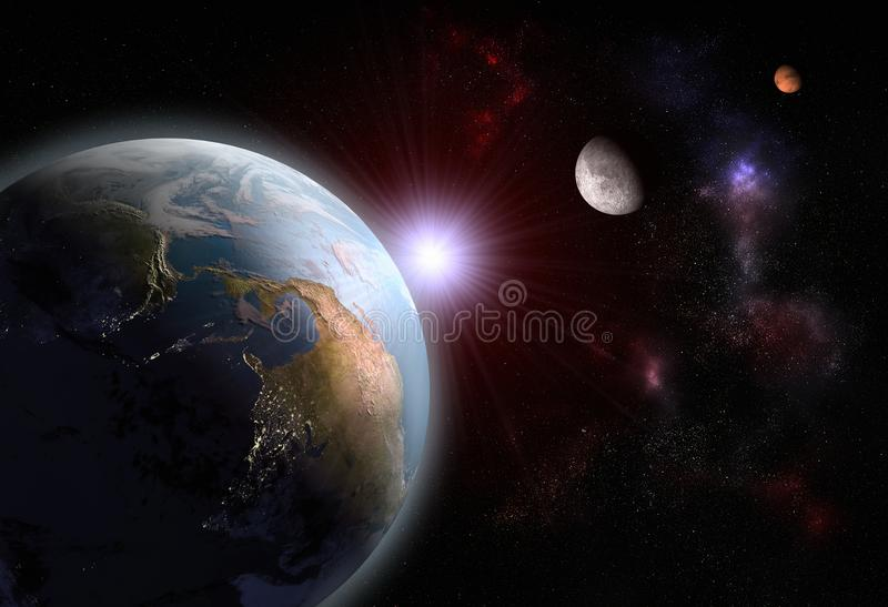 Alignment of The Earth, The Moon and Mars. 3D render of the alignment of The Earth, The Moon and Mars stock illustration