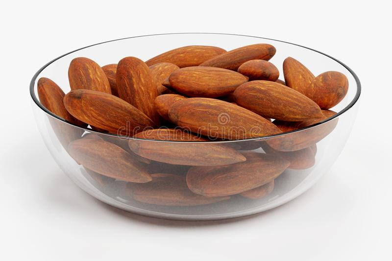 3D Render of Almonds. Realistic 3D Render of Almonds royalty free illustration