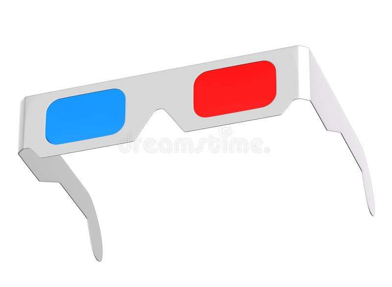 3D render of anaglyph glasses isolated on white. Background stock illustration