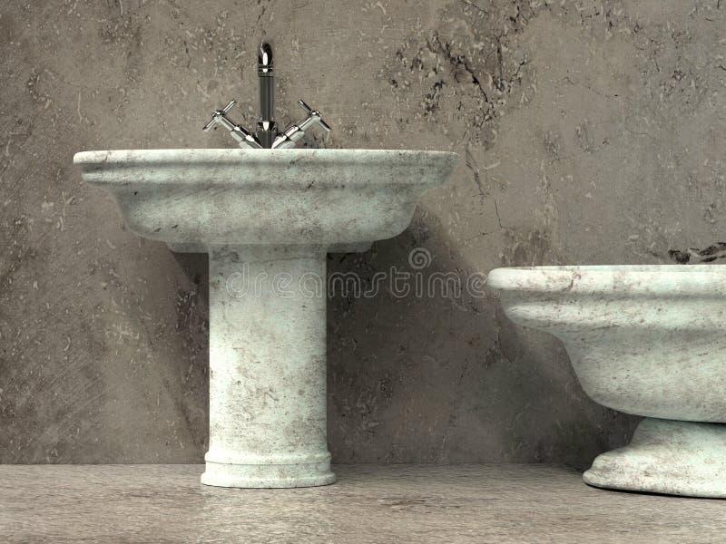 Ancient style washbasin and bath tub royalty free illustration
