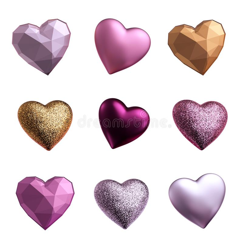 3d render, assorted hearts, love symbols, metallic pink silver gold objects isolated on white background, Valentine day clip art vector illustration