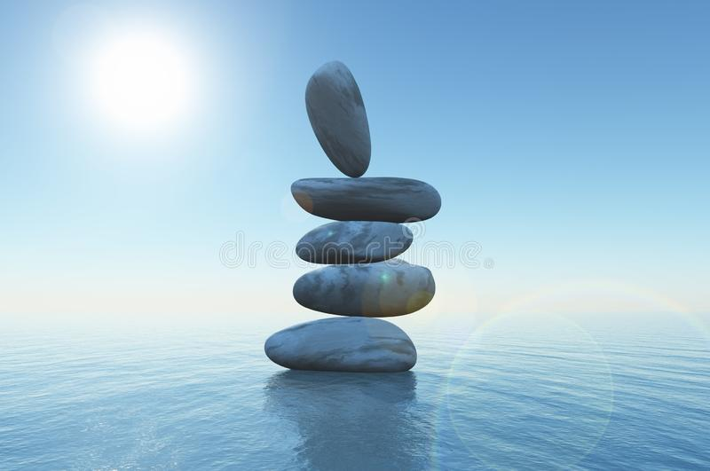 3D balancing stones in the ocean vector illustration
