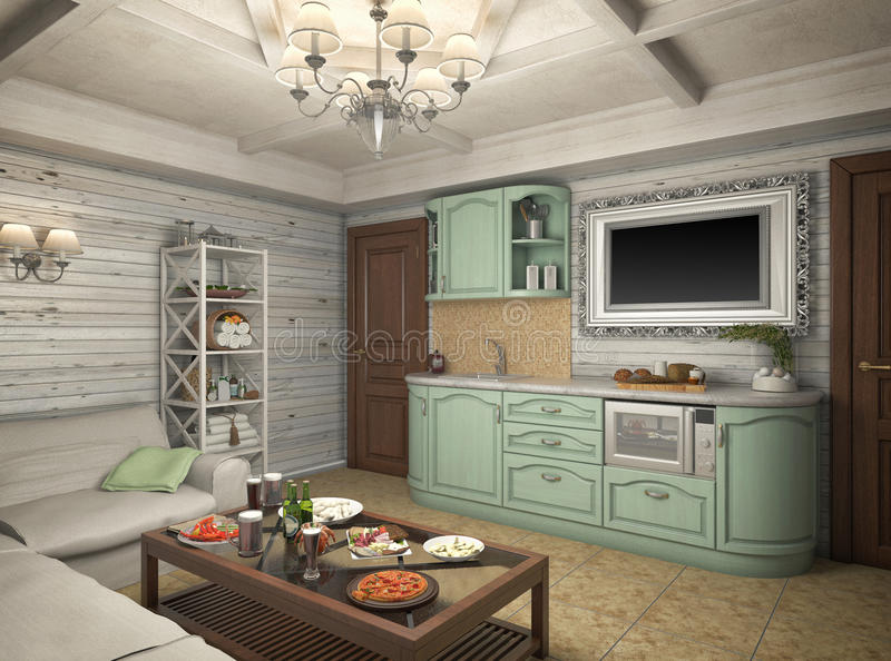 3D render of a bath in the private house. 3D illustration of a bath in the private house vector illustration