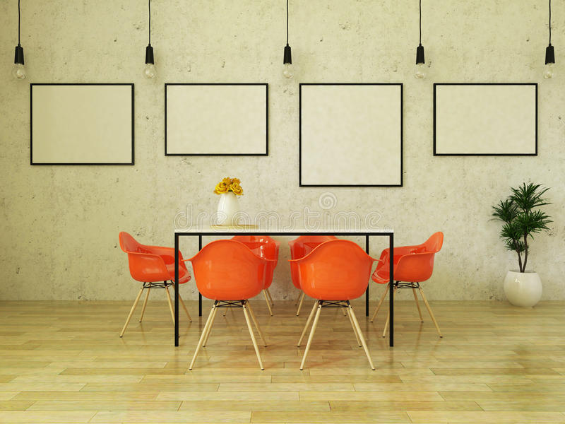 3D render of beautiful dining table with orange chairs. Beautiful dining table with orange chairs on wooden floor in front of a concrete wall with picture frames stock illustration