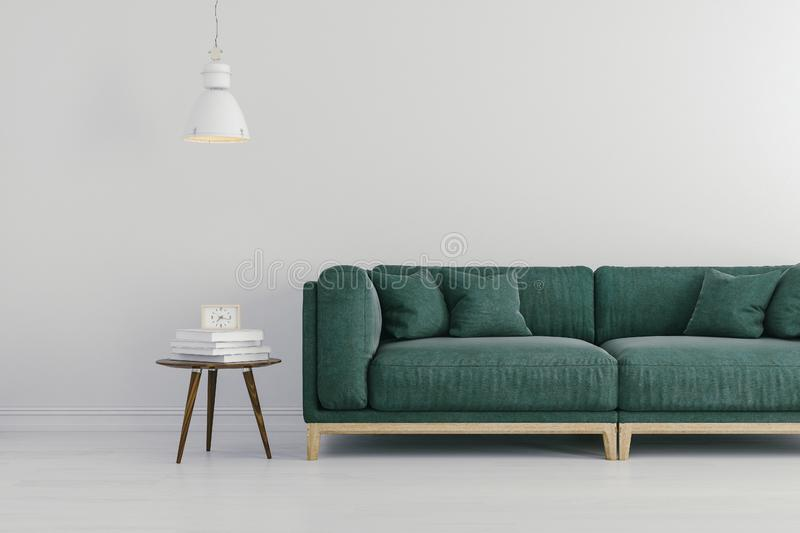 3d render of beautiful interior with green sofa and white walls vector illustration