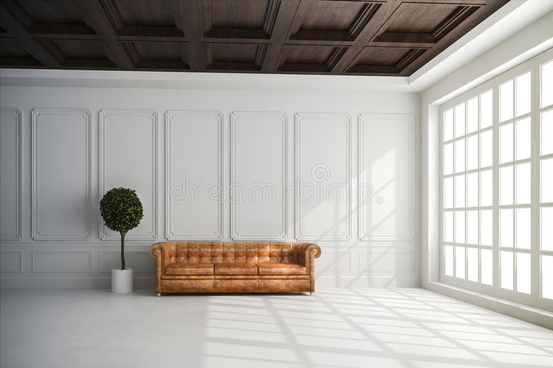 Download 3d render of beautiful interior with white walls and wood ceiling stock illustration illustration