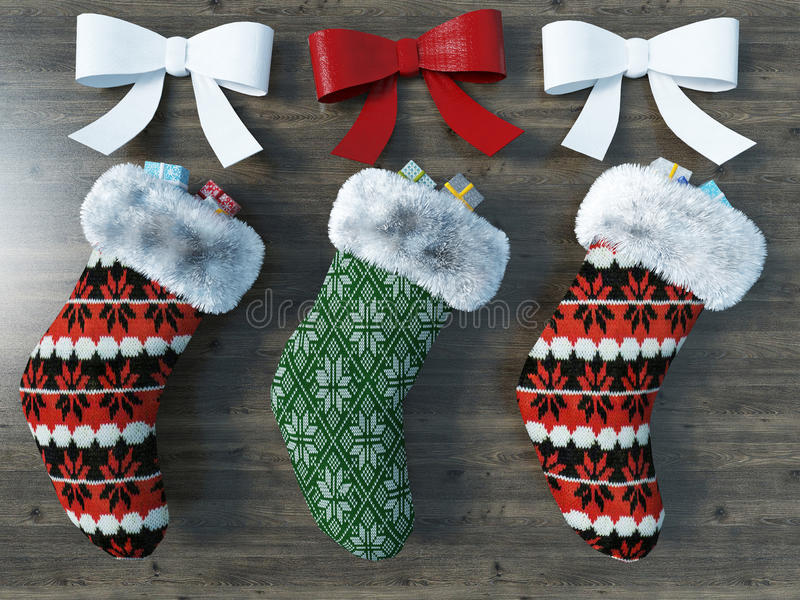 3D render of a beautiful red and green Christmas socks with ribbons on wooden background. Vintage beautiful red and green Christmas socks with ribbons on wooden vector illustration