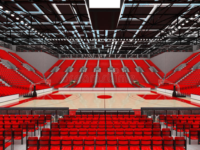 3D render of beautiful sports arena for basketball with red seats. 3D render of beautiful sports arena for basketball with floodlights and red seats and VIP stock illustration