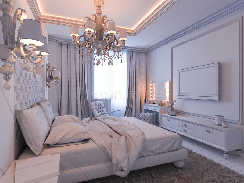 3d Illustration Of Bedroom Interior Design In A Modern Classic Style.  Bedroom Displayed In The Polygon Mesh.