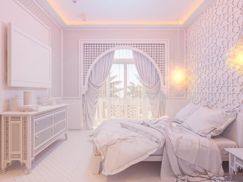 Download 3d Render Bedroom Islamic Style Interior Design Stock Illustration