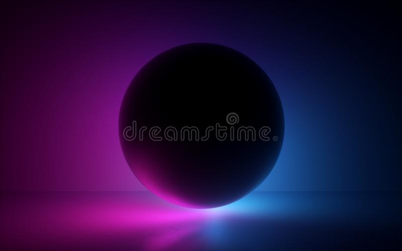 3d black ball in neon light, abstract background, blank sphere, globe model, laser show, esoteric energy, abstract background royalty free illustration