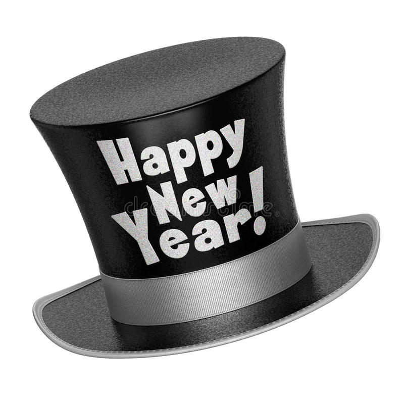 3D render of a black Happy New Year top hat stock illustration